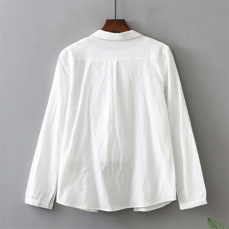 シャツ 長袖 トップス ワイシャツ レディース 秋 コットン 綿 シャツブラウス 綿シャツ 通気性 シンプル ボタン留め 前開き 着心地いい カジュアル|fukumarufukumaru|05