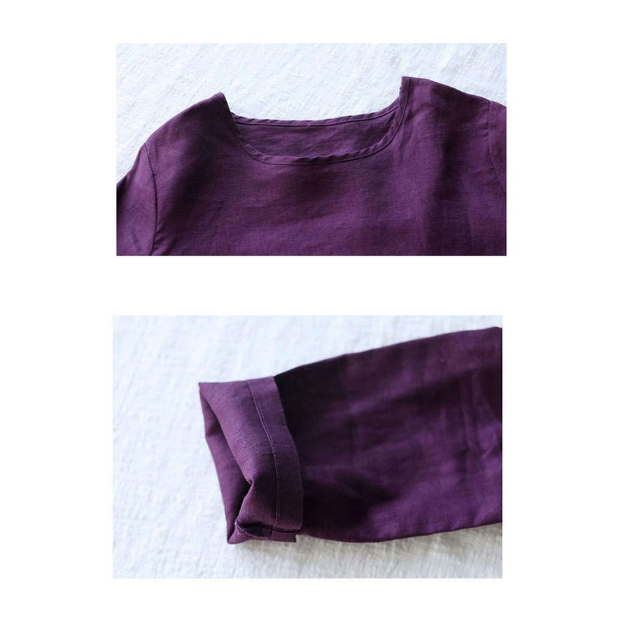 シャツ リネンシャツ 綿麻シャツ シャツブラウス 長袖 刺繍 レディース トップス ドッキング スリット入り 通気性 着まわせ 春秋 カジュアル 30代 40代|fukumarufukumaru|12