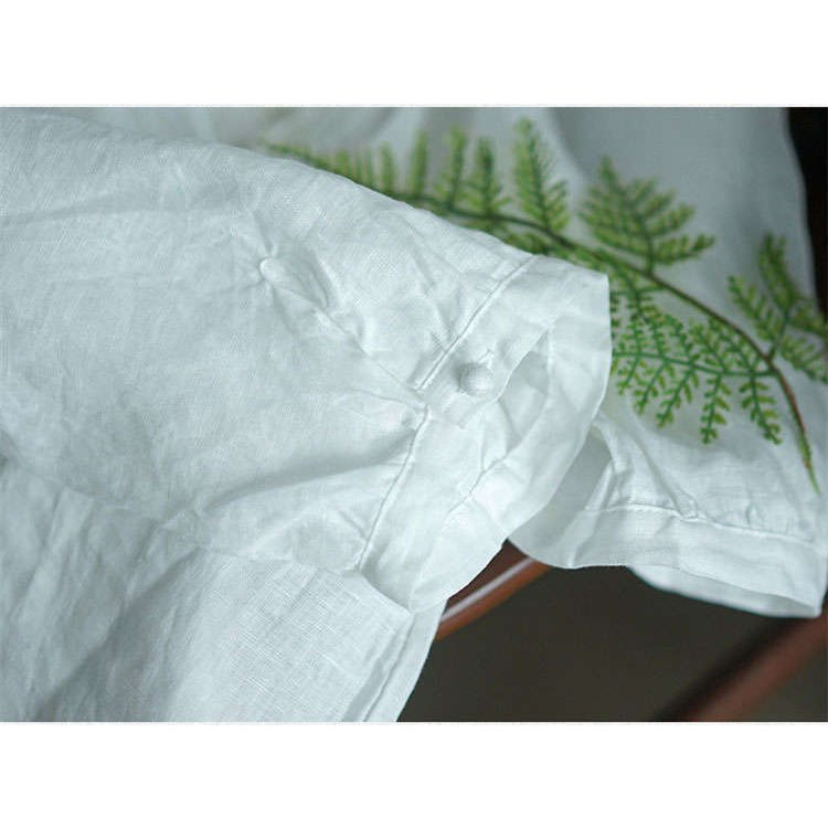 シャツ リネンシャツ 綿麻シャツ シャツブラウス 7分袖 プリーツ レディース トップス ボタン飾り シースルー 通気性 着まわせ 春秋 カジュアル 30代 40代|fukumarufukumaru|11