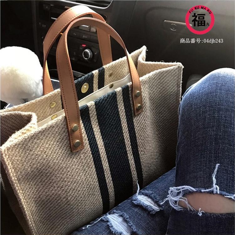 ハンドバッグ バッグ トートバッグ トート マザーズバッグ かばん レディース 大きめ ストライプ 肩掛け 大容量 柄 帆布 布製 手提げ 軽い 軽量 通勤 シンプル|fukumarufukumaru