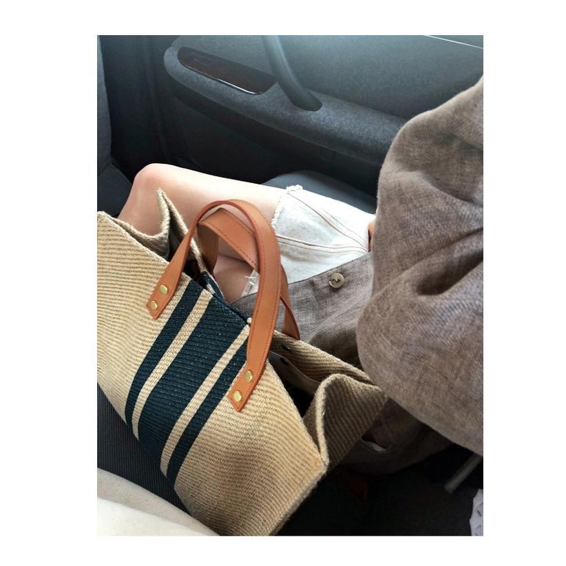 ハンドバッグ バッグ トートバッグ トート マザーズバッグ かばん レディース 大きめ ストライプ 肩掛け 大容量 柄 帆布 布製 手提げ 軽い 軽量 通勤 シンプル|fukumarufukumaru|02