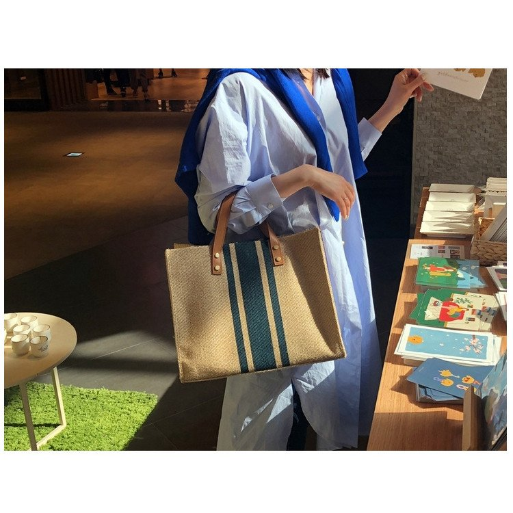 ハンドバッグ バッグ トートバッグ トート マザーズバッグ かばん レディース 大きめ ストライプ 肩掛け 大容量 柄 帆布 布製 手提げ 軽い 軽量 通勤 シンプル|fukumarufukumaru|18