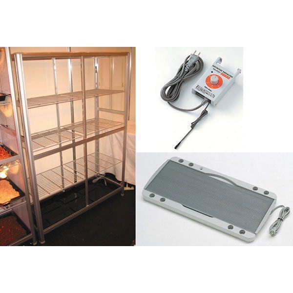 小型温室TOP-1511S+保湿プレートヒーター+ヒーターサーモ 3点セット