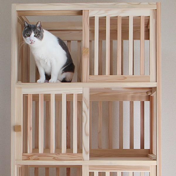 猫さんの無垢ケージ(白木タイプ)4段|fukunekohonpo|02