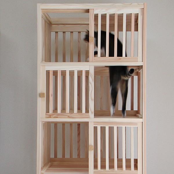 猫さんの無垢ケージ(白木タイプ)4段|fukunekohonpo|03