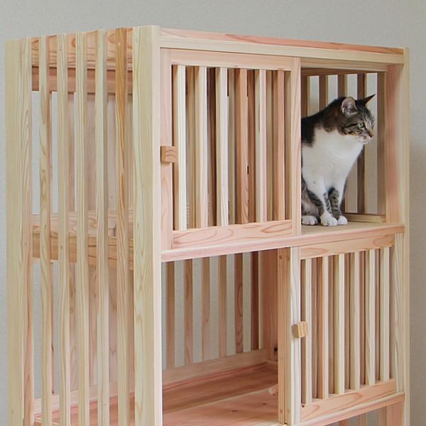 猫さんの無垢ケージ(白木タイプ)4段|fukunekohonpo|04