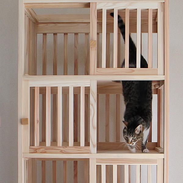 猫さんの無垢ケージ(白木タイプ)4段|fukunekohonpo|05