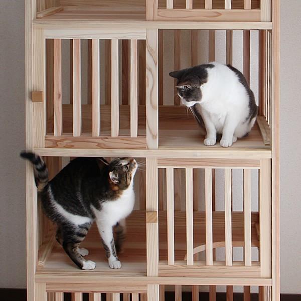 猫さんの無垢ケージ(白木タイプ)4段|fukunekohonpo|06
