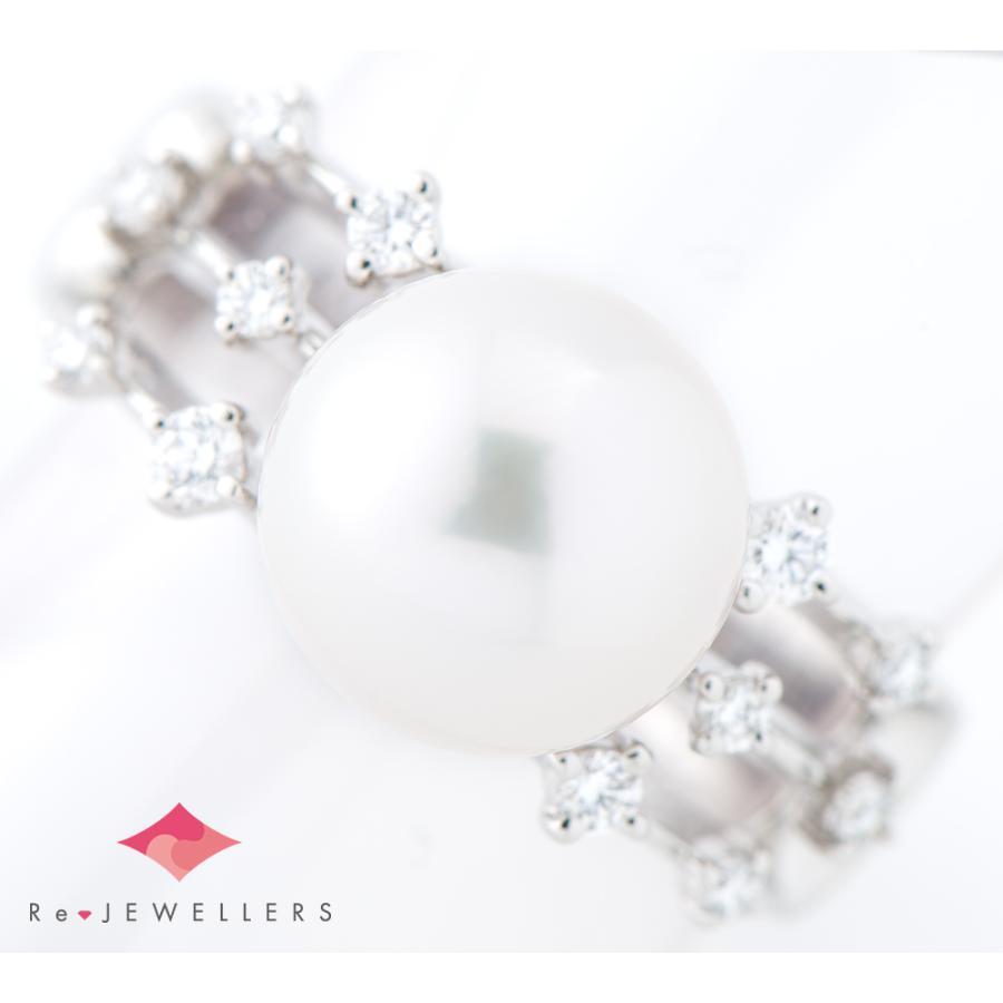 田崎真珠 10.3mm アコヤ真珠 ダイヤモンド 計0.21ct プラチナ900 17号 リング・指輪【中古】 fukuoka-gem-market