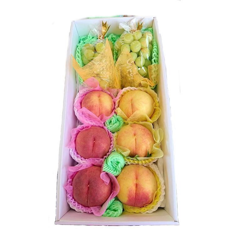 桃とシャインマスカットの詰合せ|fukushimamarusei