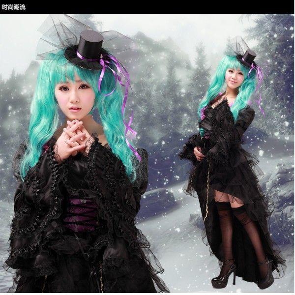 miku 黒ドレスのコスプレ衣装 初音ミク VOCALOID miku 黒ドレスのコスプレ衣装 ウイッグ