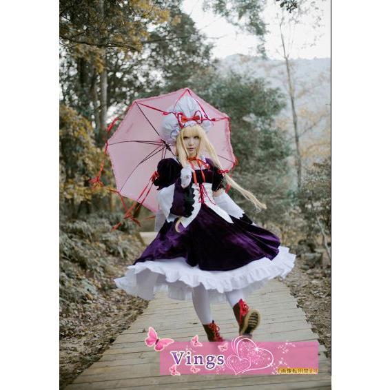 八雲紫 東方Project コスプレ衣装 八雲紫 セット商品 コスプレ衣装+ウイッグ+靴+傘 コスプレ衣装
