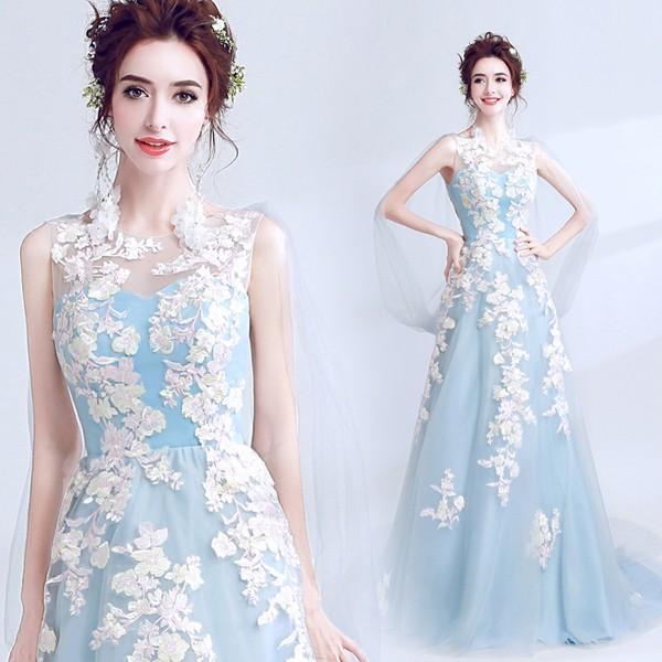 水色 花柄ドレス フィッシュテールパターン パーティードレス 大きいサイズ 結婚式 20代 30代 ロングドレス 演奏会