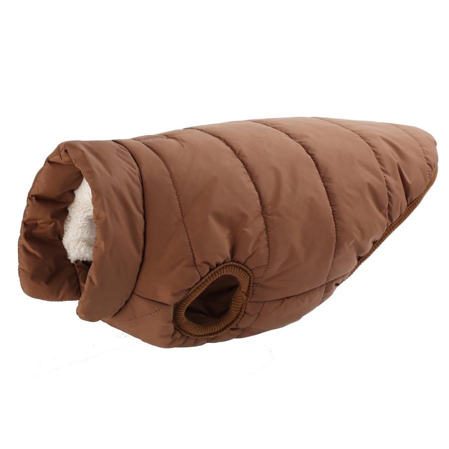 Emfay ペット服 犬服 コート ジャケット ダウン ボタン留めタイプ 防寒 冬服 ドッグウェア コーヒー S|funny-garage