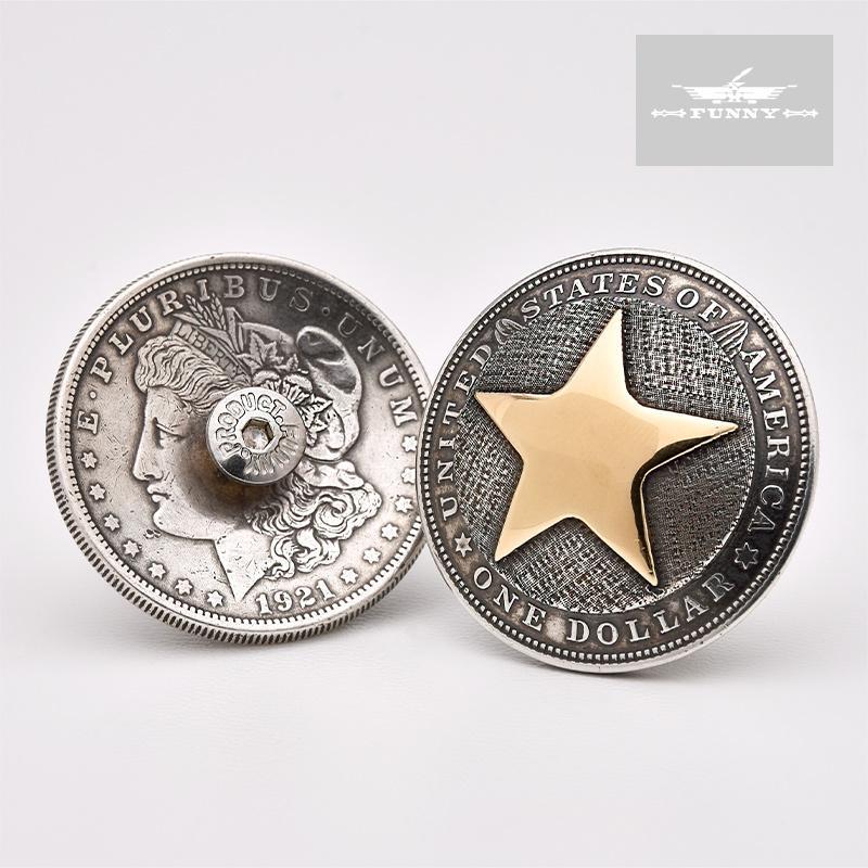 最高 ファニー コイン コンチョ 1ドル モーガン スター 《ネジ式》スターリングシルバー コインシルバー カスタム パーツ ボタン, ALL TIRE STORE AIRIN 1fbec2f5
