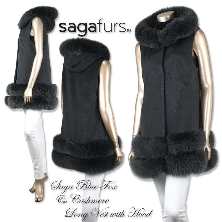 カシミアロングベスト フード付き SAGAフォックストリミング 裾2段 furaurore