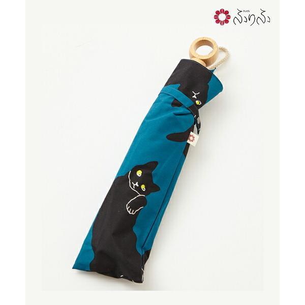 ねこねこねこ日傘 ふりふ オリジナル 猫 ねこ 暑さ対策 日よけ UVカット レディース 日傘 折りたたみ コンパクト 携帯 お花柄 折畳み式 黒 和柄 和風 上品