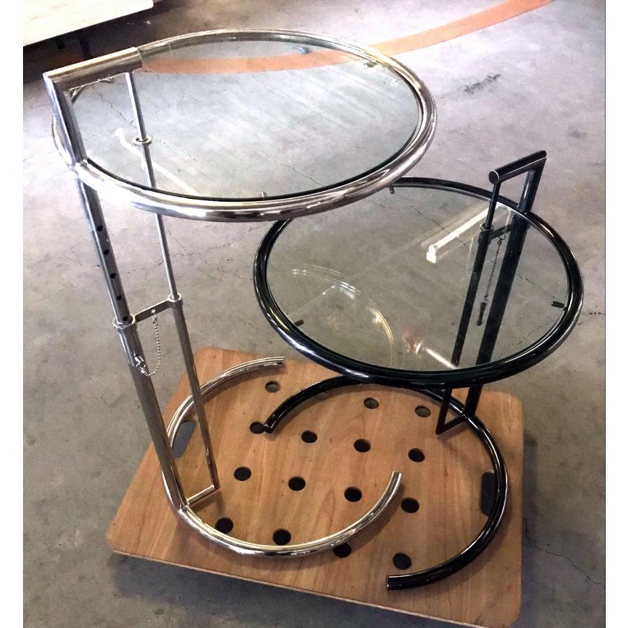 サイドテーブル アイリーングレイ ガラステーブル イタリア製 e-1027