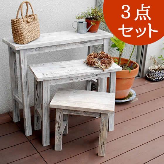 ホワイトスツール風花台 3点セット YT-406080WW収納 木製 北欧 キャスター ボックス 椅子 チェア 丸いす 丸イス 安い