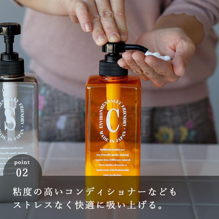 詰め替えボトル 日本製 シャンプーボトル「ペコロ Pecolo」3本セット【ディスペンサー シャンプーボトル おしゃれ セット 詰替えボトル シャンプー 詰め替え】|furo|05