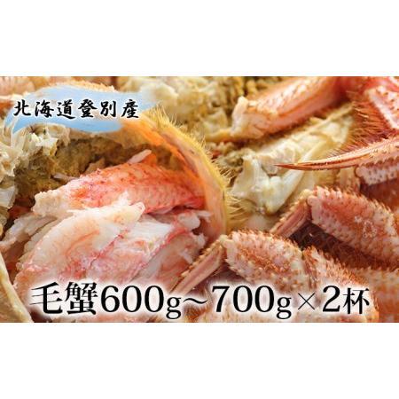 ふるさと納税 北海道登別産 旬の毛蟹600g·700g×2杯 北海道登別市
