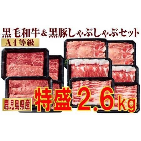 ふるさと納税 E5-2212/黒毛和牛·黒豚しゃぶしゃぶ肉特盛2.6kg! 鹿児島県垂水市