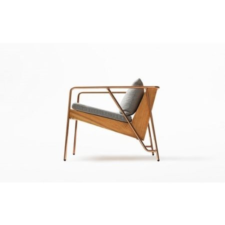 ふるさと納税 【FIL】MASS Series Lounge Chair-Natural Wood & Copper Frame 熊本県南小国町