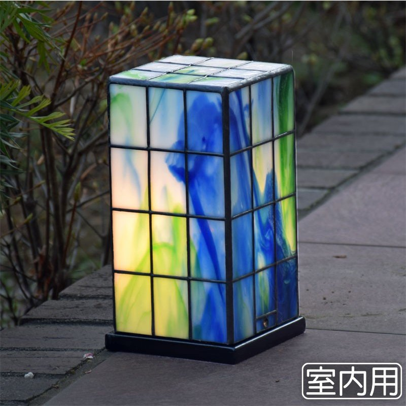 ステンドグラス ランプ 行燈 緑格子 室内用 ステンドグラス ライト 室内照明 テーブルランプ 卓上照明 間接照明 100V LED 対応 和風照明 おしゃれ照明