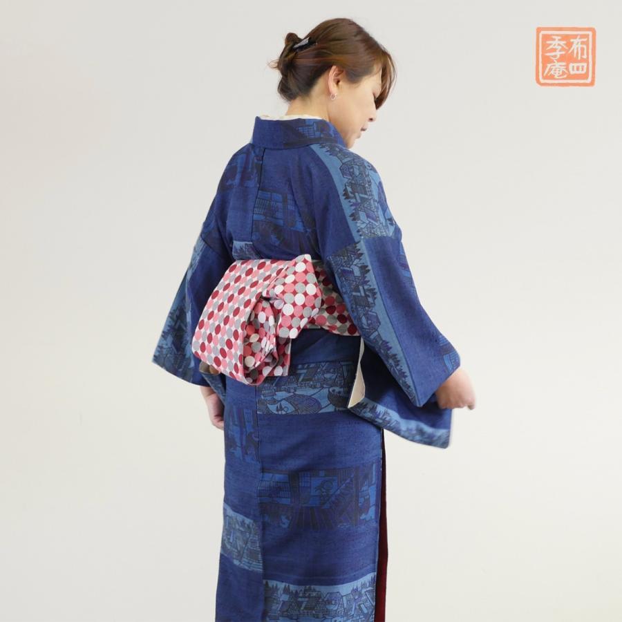 米沢織 半幅帯 四寸帯 浴衣帯 赤 紫 青 YNOR ワイノール ドット|fushikian|02