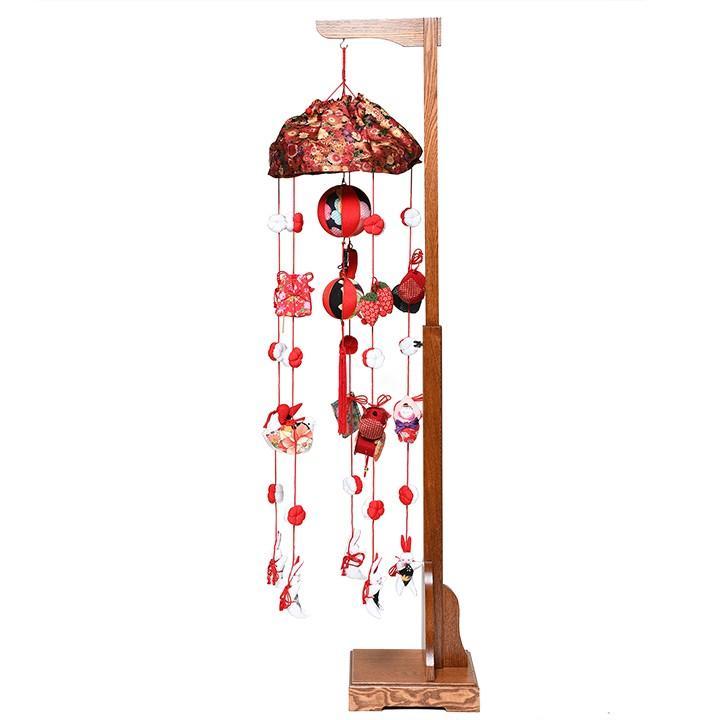 【つるし飾】【ひな人形】傘付古布調縮緬(中):スタンド付【吊るし雛】【雛人形】
