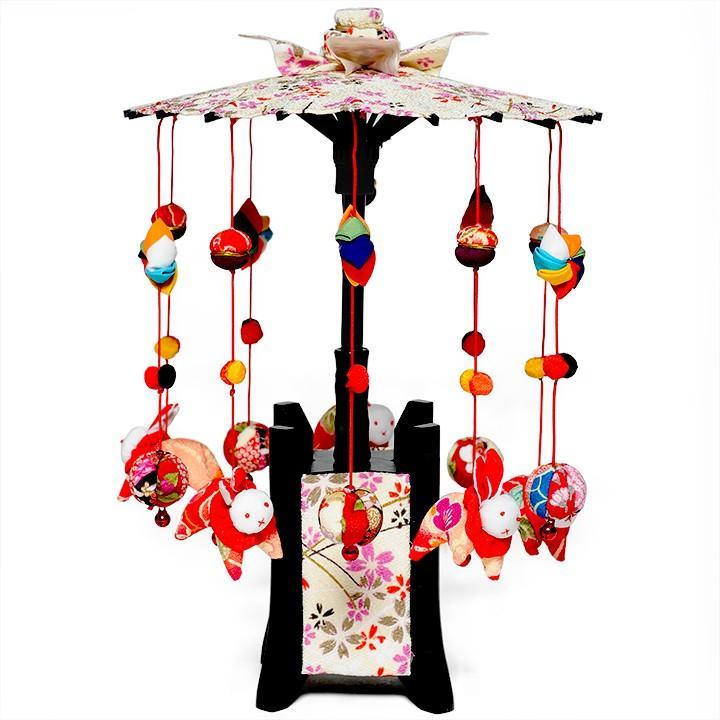 【つるし飾】【ひな人形】縁起の傘つるし「うさぎ白傘」小【吊るし雛】【雛人形】