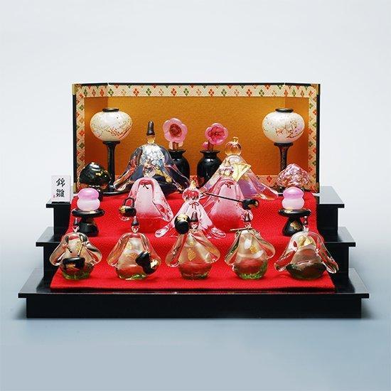 ガラスのひな人形(雛人形・お雛様) 錦雛 うす花桜 三段飾りセット FUSION FACTORY 野口硝子