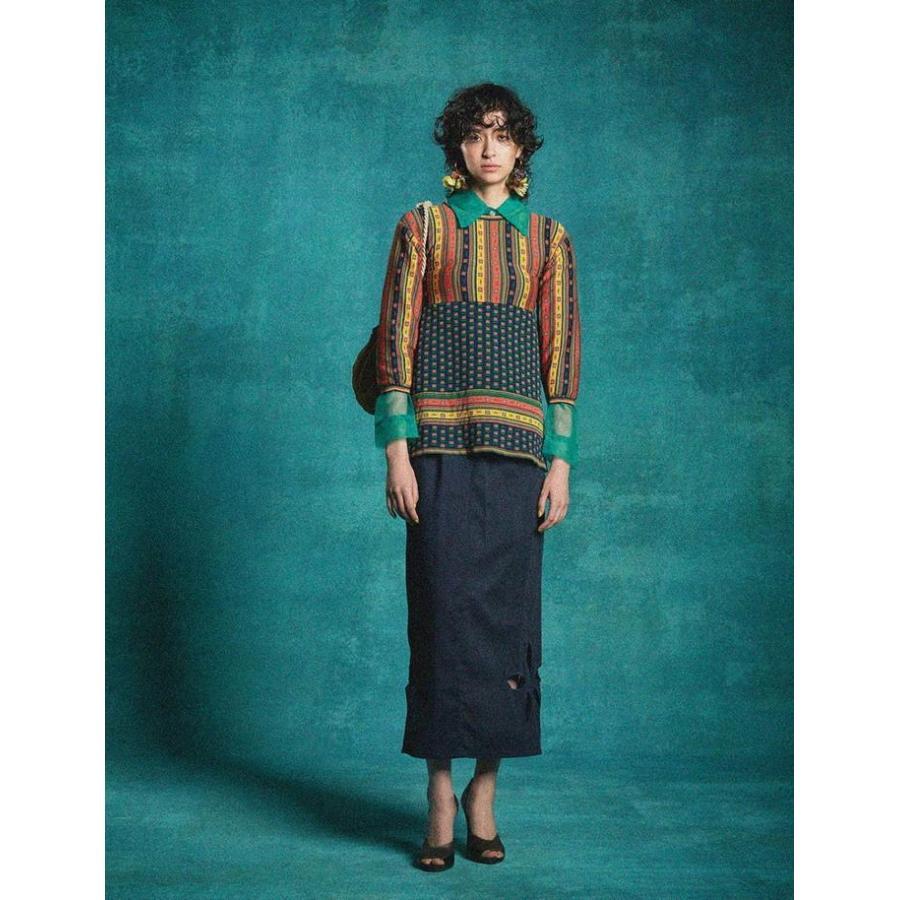 タイムセール 77circa circa make petal embroidery trousers skirt / 花びら型抜き 刺繍 スカート|fusion|02