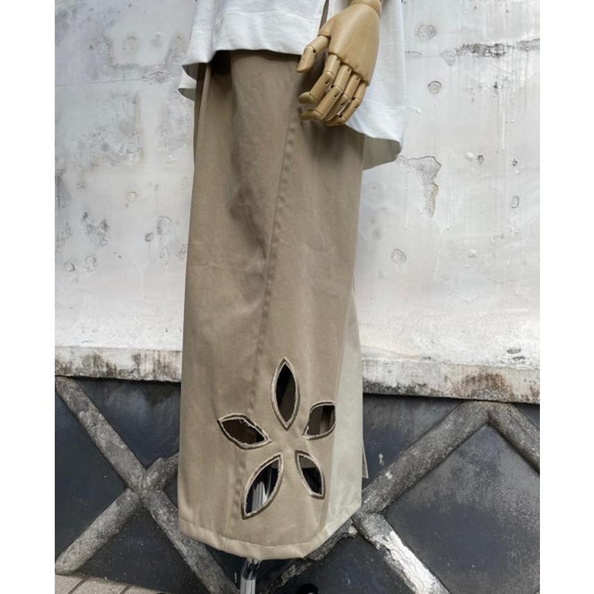 タイムセール 77circa circa make petal embroidery trousers skirt / 花びら型抜き 刺繍 スカート|fusion|12