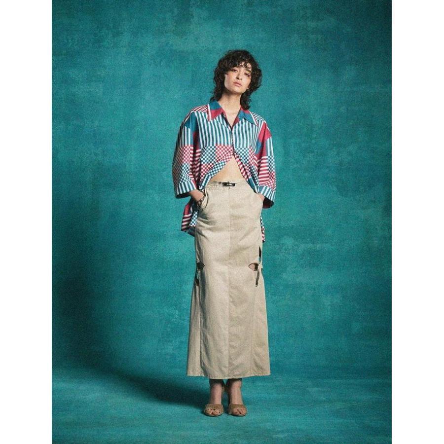 タイムセール 77circa circa make petal embroidery trousers skirt / 花びら型抜き 刺繍 スカート|fusion|03