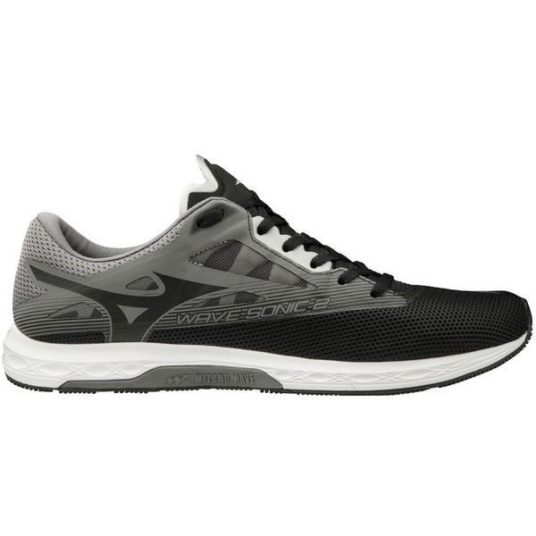 Mizuno Wave Sonic 2 Black Grey White Men Running Racing Shoe Sneaker U1GD1934-09