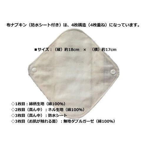 おりもの用布ナプキン(防水シート付)デザインおまかせ5点セット+洗剤のおまけつき! futagochan 02