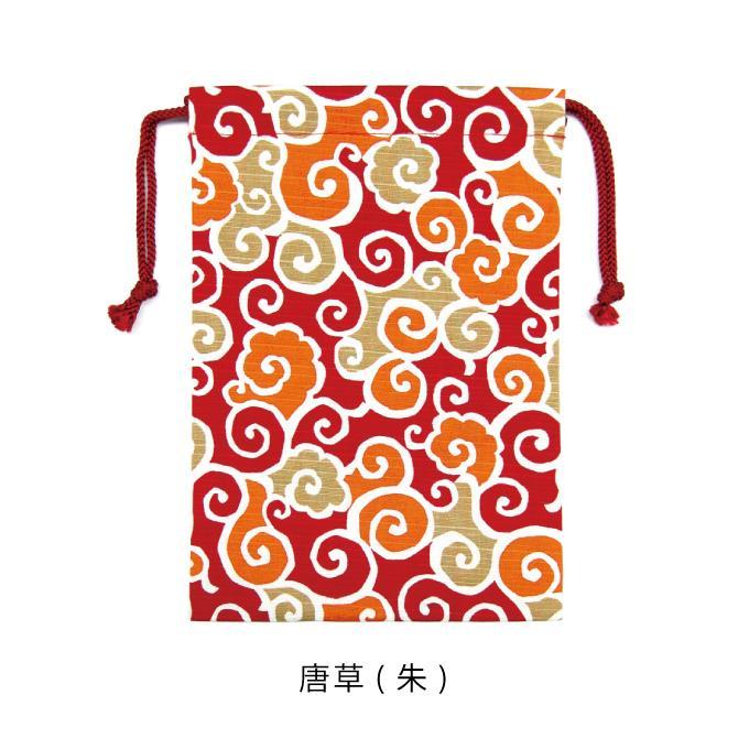 巾着袋 御朱印帳入れ シャンタン 和柄 モダン 千鳥 唐草 シャンタン巾着|fuzei-kyoto|05