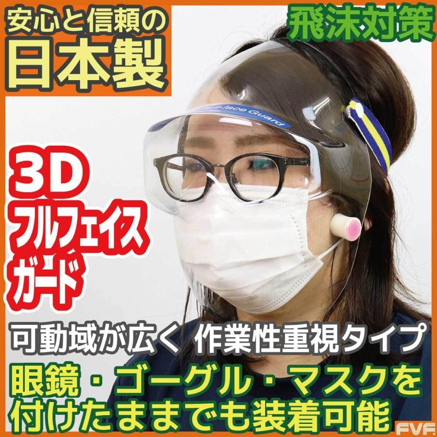 3D Full-face Guard【3D フルフェイスガード】フルフェイスシールド 日本製 飛沫対策に 作業現場に 接客現場に 医療現場に サバイバルゲームに 送料無料|fvf
