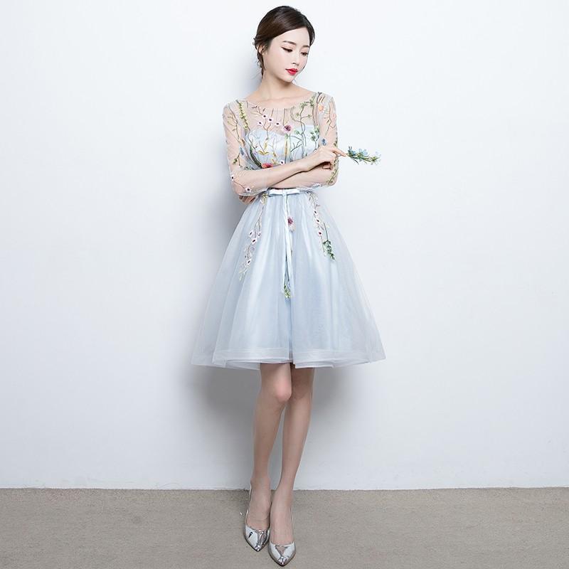 929e95b1c56608 ワンピース ドレス 結婚式 パーティー ミニ丈 七分 シースルー 花柄 ...