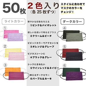 マスク 50枚入2色混合 2色25枚づつ 1枚ごと包装 表と裏色違う 3層構造 カラーマスク 使い捨てマスク 不織布マスク 保護マスク g-direct 02