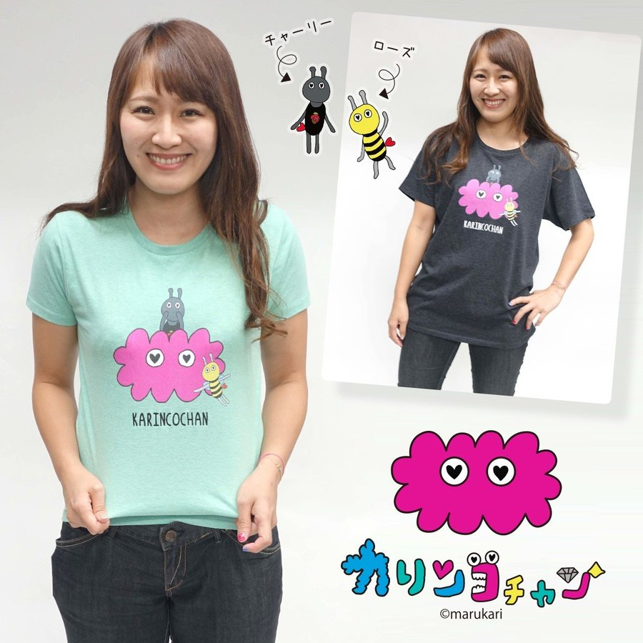 【カリンコチャン】ローズ&チャーリー 刺繍 Tシャツ g-fine 05