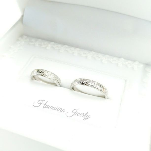 『世界にひとつのハワイアンジュエリー』 マリッジリング ペアリング ハワイアンジュエリー 結婚指輪 刻印〈2本ペア価格〉
