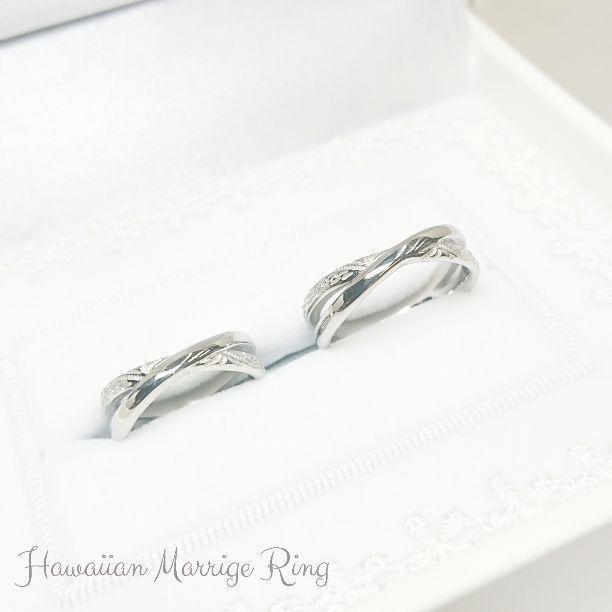 『世界にひとつのハワイアンジュエリー』 ブライダル マリッジリング ペアリング ハワイアンジュエリー 結婚指輪 刻印〈2本ペア価格〉