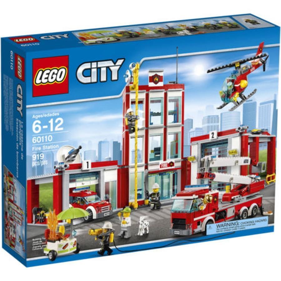 レゴ ブロック セット LEGO City Fire Station Firefighter Truck Helicopter Hose Dog Building Block Toy