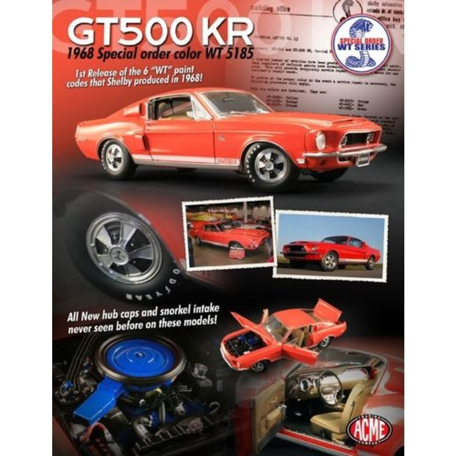 おもちゃ 車 トラック バン オレンジ 1968 FORD SHELBY GT500KR MUSTANG ACME 1:18 SCALE DIECAST METAL CAR