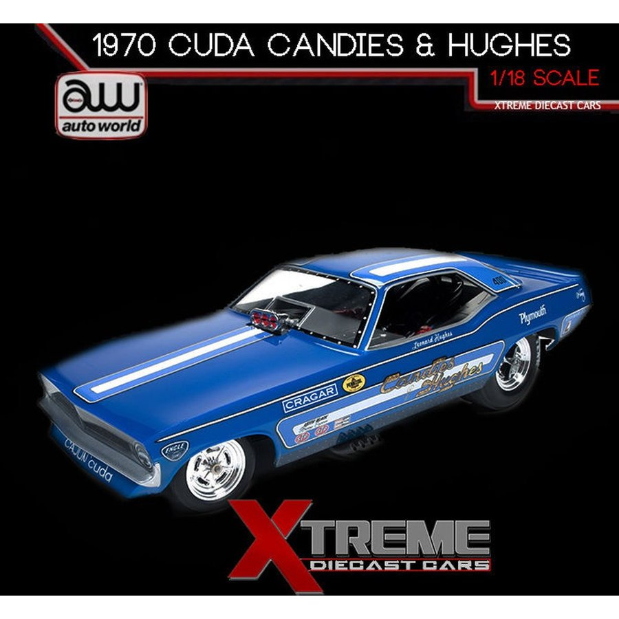 おもちゃ 車 トラック バン AUTOWORLD AW1172 1:18 1970 PLYMOUTH CUDA CANDIES & HUGHES NHRA FUNNY CAR