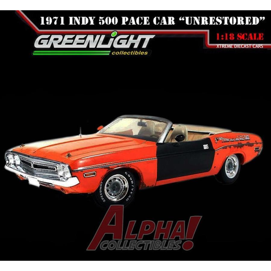 おもちゃ 車 トラック バン 緑LIGHT 50816 1:18 1971 DODGE CHALLENGER INDY 500 PACE CAR