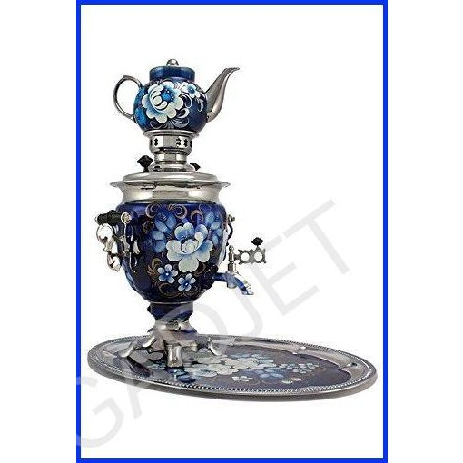 """Samovar electric 3 liters""""Tula"""" in the set""""Zhostovo on blue"""" hand-painting"""
