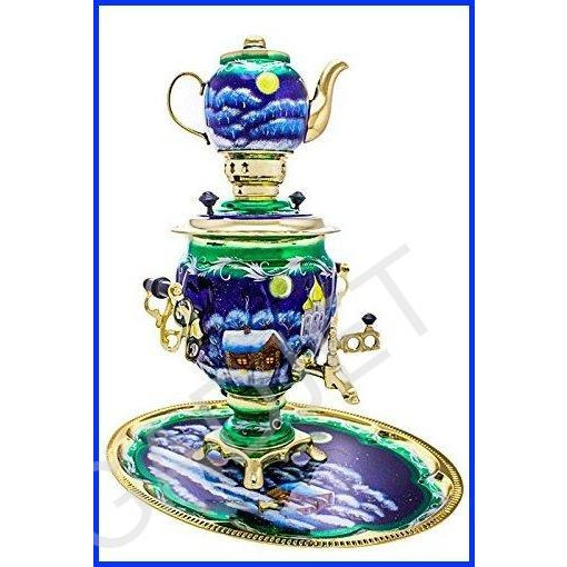"""Samovar electric 3 liters""""Tula"""" in the set""""Christmas night"""" hand-painting"""
